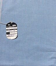 Vintage Pure Wool Sewing Fabric Small Houndstooth Check Blue Off White Suiting