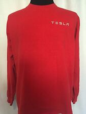 Tesla Motors Model S T Shirt XL Extra Large Red Long Sleeve Cotton Red