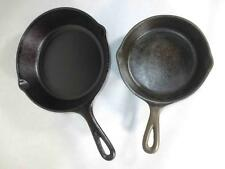 2 Vintage Cast Iron Unmarked Small Lodge Frying Pans Skillets, Size 5 and Size 3