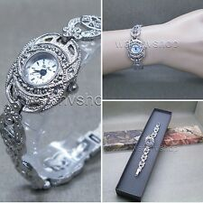 Womens Vintage Marcasite Crystal Silver Tone Brass Bracelet Classic Watch LM11