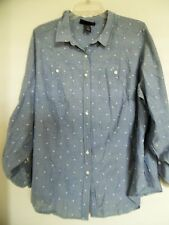 LANE BRYANT   Women's Chambry Polka dot  Top shirt Blouse Tunic  Sz 22