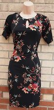 MONSOON BLACK PEACHY ORANGE GREEN FLORAL TUBE BODYCON TEA RARE DRESS 10 S