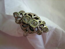 ANTIQUE STERLING SILVER ART DECO RING RHINESTONES SIZE 5 1/2