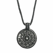 Pewter Viking Jorvik Good Luck Shield Amulet Pendant Cord Necklace Handcrafted A
