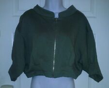 Fornarina womens short sleeve jacket olive green size S 100% cotton with zipper