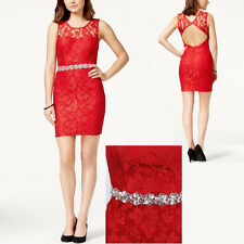 New CITY STUDIOS Juniors Embellished Lace Sleeveless Party Sheath Dress 13 Red