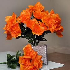 84 Orange SILK OPEN ROSES Wedding Discounted Flowers Bouquets for Centerpieces
