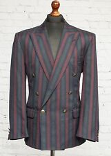 Skopes Striped Navy Blue Red Boating Blazer Squadron Jacket Double Breasted 40S