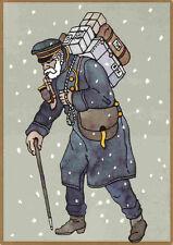 Postbote: Paketzusteller im Schnee 1895, Jubiläums-Post-Karte 500 Jahre Post