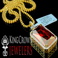 Genuine Diamond .33 Ctw Royal Red Ruby Charm Pendant 10K Yellow Gold Finish 1.5""