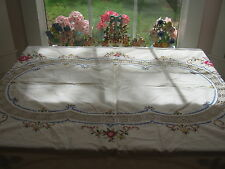 Beautiful Vintage Large Beige Tablecloth Cover Cutout Cross Stitch Floral Roses