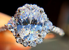 1.5 ct Extra Brilliant Oval Halo Ring Russian Quality CZ Moissanite Simulant S 7