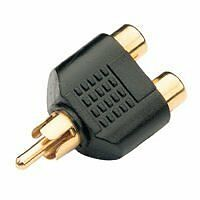 acc-24 Gold Plated RCA AV Audio Y Splitter Plug Adapter 1 Male to 2 Female by