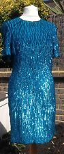 Vintage Turquoise Stenay 100% Silk Sequin Dress - Size 14 Cocktail Evening Party