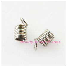 70Pcs Coil End Crimp Necklace Fastener Connectors 5x7mm Dull Silver Plated