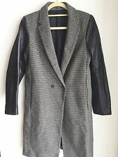 ZARA Woman Leather Sleeve WOOL Black Houndstooth Masculine Chic COAT JACKET Sz M