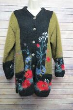 Icelandic Design Floral Mohair Cardigan Sweater Lined Small Oversized Long #855