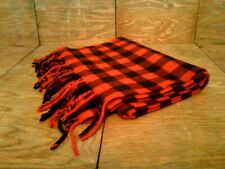 Vintage Italy The Gap 100% Lambswool Checkered Red & Black Scarf with Fringe