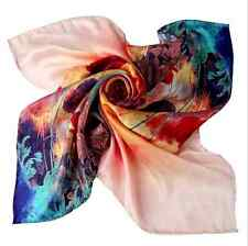 Large Square Silk Scarf-Orange Turquoise Tulip Print Scarf 100% silk~28in/70cm^2
