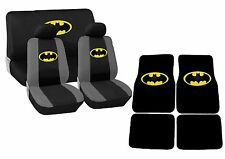 Black and Yellow Batman Car Seat Covers Floor Mats Steering Wheel Set HS