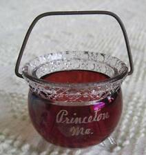 Vintage Princeton Maine Ruby Stained Kettle Shaped Toothpick Holder