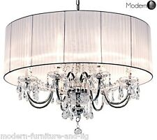 8 light Beaumont crystal droplet chandelier, Crystal teardrops with white shade