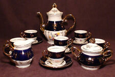THUN KARLOVARSK Cobalt Blue Gold Accent Fine Porcelain China Coffee / Tea Set.