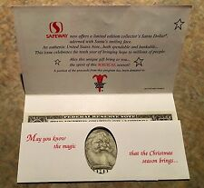 Santa Claus One Dollar Bill Uncirculated - Great Gift for Christmas - REAL MONEY
