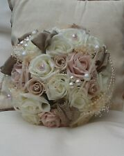 IVORY VINTAGE BLUSH PINK CHAMPAGNE WEDDING FLOWERS BRIDE BOUQUET PEARLS BROOCH