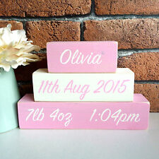 Personalised Hand Painted Wooden Newborn New Baby Girl Name Blocks Shelf Sitter