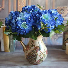 Rose Vintage Artificial Silk Peony Flowers Hydrangea Wedding Decor Blue