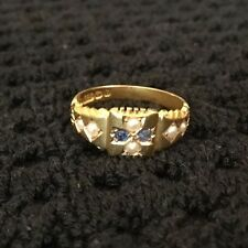 Hallmarked HM 15ct 15k Edwardian Sapphire Seed Pearl Ring