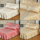 QUILTED SATIN BEDSPREAD BED THROW PILLOWCASE SINGLE DOUBLE KING GOLD CREAM PINK
