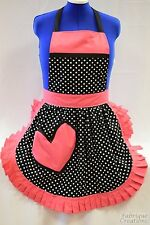 RETRO VINTAGE 50s STYLE FULL APRON - VALENTINE BLACK & WHITE SPOT with PINK TRIM