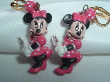 VINTAGE DISNEY MINNIE MOUSE DANGLE DROP CLIP EARRINGS IN GIFT BOX