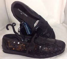 NEW FADED GLORY Sequin Flats Womens Shoes Size 6 1/2 Silver Casual Dress Loafer