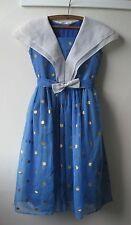 VTG 50s blue & gold polka dot full skirt party evening dress w/ white collar. XS