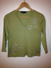 Debenhams Cotton Jersey Top Size 12 Olive Green With Silver Decoration  R9503