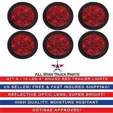 """4"""" Red 10 LED Round Stop Turn Tail Truck Light with Grommet & Pigtail - Qty 6"""