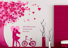 Wall Stickers Romantic Bedroom Valentines Day Under Heart Leaves Tree and Quote