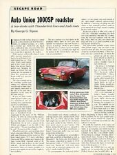 Auto Union 1000SP Roadster Original Car Review Print Article J574 1958 1959 1960