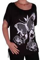 Womens Short Sleeve Scoop Neck Casual Butterfly Print Plus Size Blouse Tunic Top
