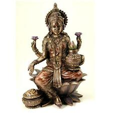 "LAKSHMI STATUE 7"" Seated Hindu Wealth Goddess Bronze Resin HIGH QUALITY Laxmi"