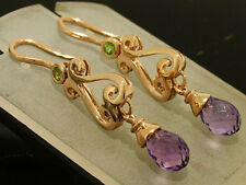 E056- Genuine 9ct SOLID Rose Gold NATURAL Amethyst Briolette DROP Earrings