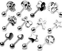 Great Selection of 316L Steel 3D Tongue Bars Tounge Piercing Stud CHOOSE DESIGN