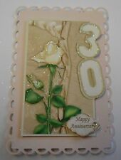 PK 2 HAPPY 30TH PEARL WEDDING ANNIVERSARY TOPPERS FOR CARDS OR CRAFTS