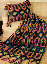 "Crochet Pattern Jewelled Afghan/Blanket (48"" x 62"") & Cushion."