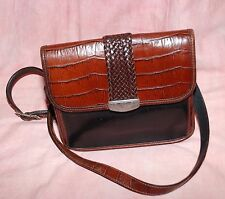 VINTAGE BRIGHTON SHOULDER CROSSBODY ORGANIZER CROC LEATHER HANDBAG