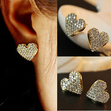 Fashion Heart Love Gold Full Crystal Rhinestone Lady Women Stud Earrings