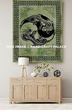 """Hippie Tapestry Wall Hanging Yin Yang Dragon Green Throw 30"""" x 40"""" Large Size"""